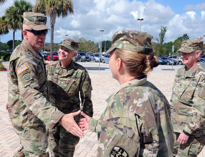 The Commanding General for U.S. Army Reserve Command, Lt. Gen. Charles D. Luckey, meets with senior leaders and staff members of Army Reserve Medical Command in Pinellas Park, Florida during his battlefield circulation.  Left to Right: Lt. Gen. Luckey; Maj. Gen. Mary E. Link, ARMEDCOM commanding general; Col. Elizabeth A. Baker, ARMEDCOM chief of staff; Brig. Gen. Lisa L. Doumont, ARMEDCOM deputy commanding general.  ARMEDCOM enhances readiness, medical support, and medical training and is the largest medical footprint of the Army Reserve with more than 100 different medical units located throughout the United States.