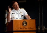 National Security Agency Director Navy Adm. Michael S. Rogers speaks to students at the Naval War College last year. Rogers, who also commands U.S. Cyber Command, participated in a panel discussion at the Center for Strategic and International Studies in Washington, D.C., Sept. 14, 2016. He said there has been fundamental change in the way the U.S. government uses intelligence. Navy photo by Chief Petty Officer James E. Foehl