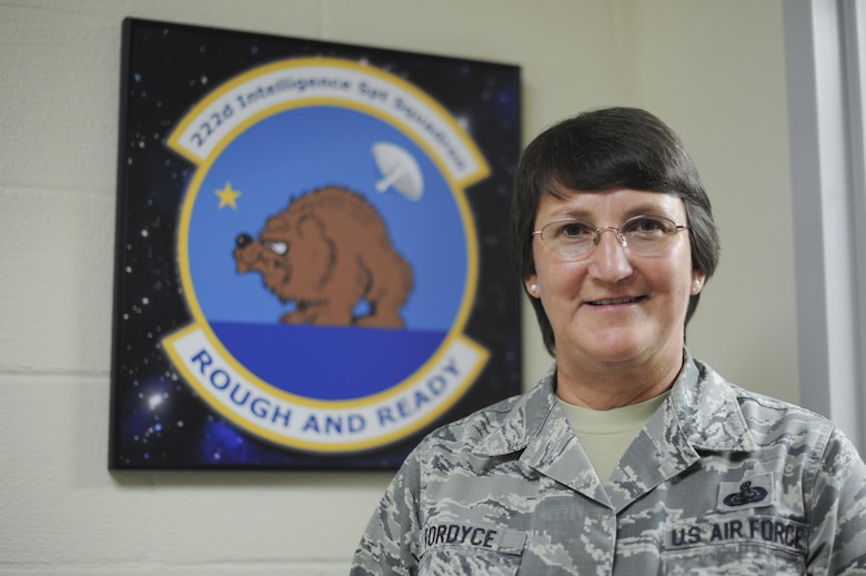 Chief Master Sgt. Debra L. Fordyce, 222nd Intelligence Squadron superintendent, poses for a photo Aug. 24, 2016, at Beale Air Force Base, California. (U.S. Air Force photo/ Senior Airman Tara R. Abrahams)