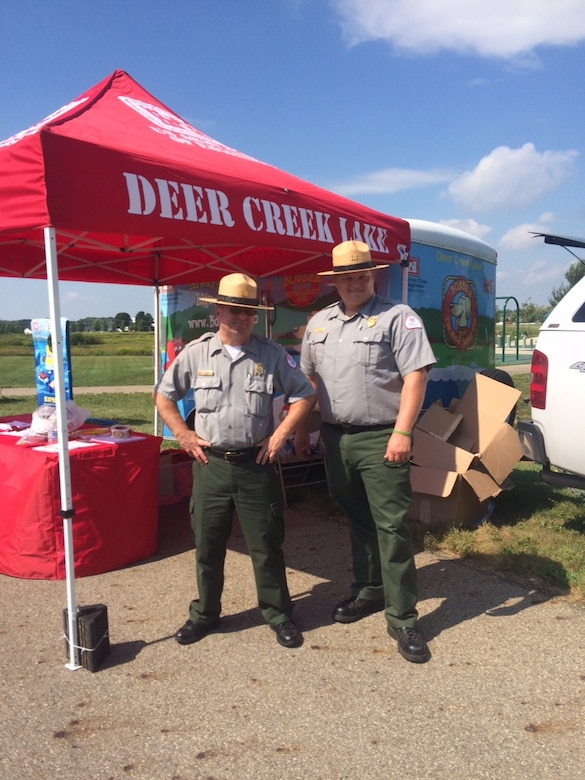 The Kids and Badges event was held in Circleville Ohio on September 10th 2016. Deer Creek Ranger Will Rutter, SCA Intern Nic Reisch, and Dillon Lake Park Ranger Bob Cifranic worked the event and made over 900 water safety contacts utilizing Corey, Bobber and Deer Creek Lake's water safety trailer.
