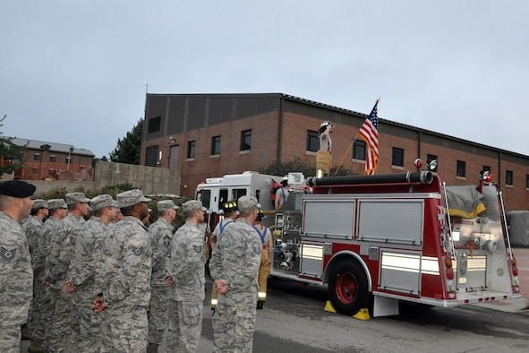 Members of the 910th Airlift Wing attend a 9/11 rememberance ceremony commemorating the 15th anniverasary of the terroist attacks on the World Trade Center and Pentagon. The ceremony was held here, Sept. 11, 2016. (U.S. Air Force photo/Master Sgt. Bob Barko Jr.)
