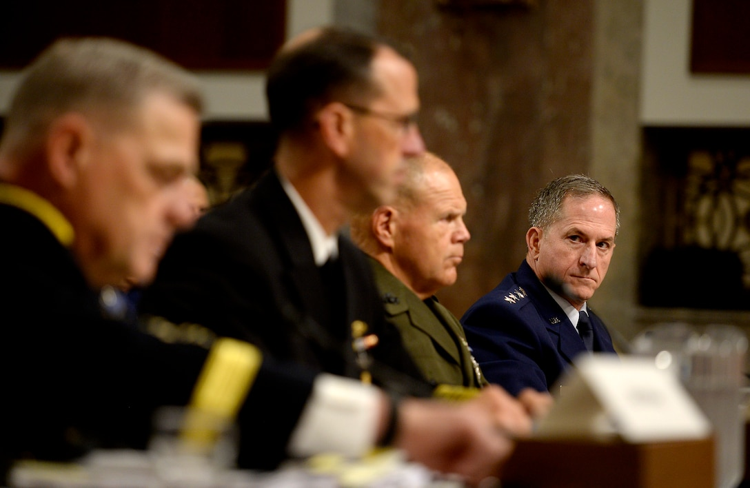 Air Force Chief of Staff Gen. Dave Goldfein testifies before the Senate Armed Services Committee during a hearing about Defense Department readiness Sept. 15, 2016, in Washington, D.C.  Goldfein joined Chief of Staff of the Army Gen. Mark A. Milley, Chief of Naval Operations Adm. John Richardson and Commandant of the Marine Corps Gen. Robert B. Neller during the hearing.  (U.S. Air Force photo/Scott M. Ash)