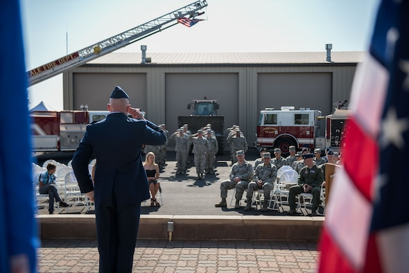 Lt. Col. Bradley G. King, 940th Civil Engineer Squadron commander, gives his first salute to members of the squadron Sept. 11, 2016, at Beale Air Force Base, California. The 940 CES is the first civil engineer squadron startup in over 20 years in the Air Force Reserve Command. (U.S. Air Force photo by Staff Sgt. Brenda Davis)