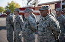 Firefighters with the 940th Civil Engineer Squadron watch an assumption of command ceremony Sept. 11, 2016, at Beale Air Force Base, California. The ceremony represented the first civil engineer squadron startup in over 20 years for Air Force Reserve Command. (U.S. Air Force photo by Staff Sgt. Brenda Davis)