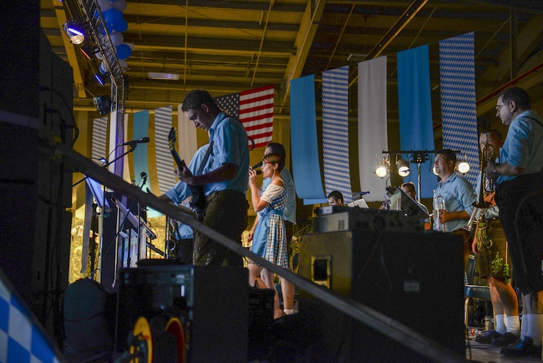 Bavarian musicians play traditional folk music at the 20th annual Oktoberfest at Holloman Air Force Base, N.M. on Sept. 10, 2016. The German air force hosts Oktoberfest each year, flying in authentic Bavarian foods and beer. (U.S. Air Force photo by Airman Alexis P. Docherty)