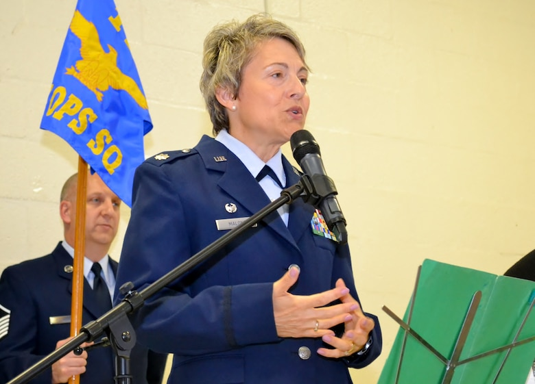 Newly-appointed 112th Cyberspace Operations Squadron Commander Lt. Col. Claudia Malone addresses the audience during her assumption of command held at the 111th Attack Wing headquarters building here Sept. 10, 2016. The 112th COS mission operates on both a state and federal front, providing cyber support for a multitude of platforms based upon the area of responsibility. (U.S. Air National Guard photo by Tech. Sgt. Andria Allmond)