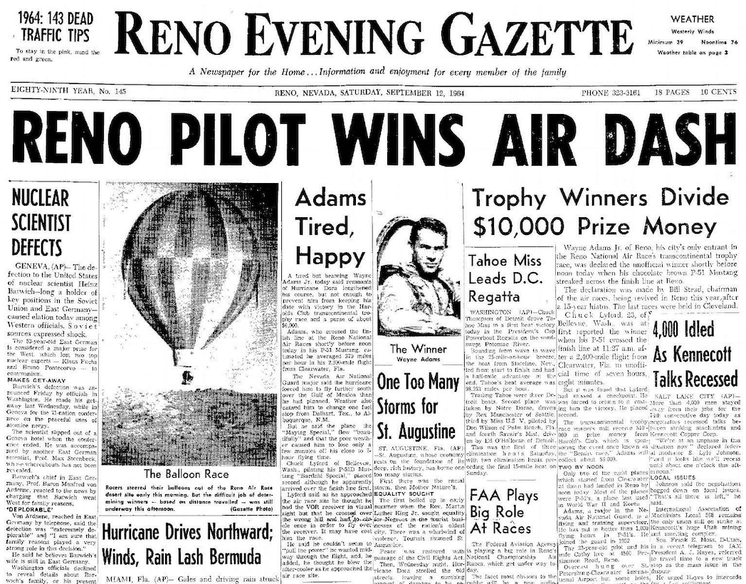 Front page of Sept. 12, 1964 Reno Evening Gazette.