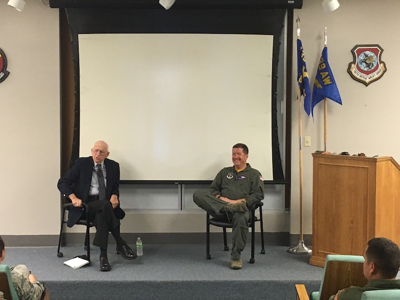 Lt. Col. Dale H. Hueske (retired), a Nebraska native and Korean War veteran, spoke to Airmen of the 139th Operations Group Sept. 10, 2016 at Rosecrans Air National Guard Base in St. Joseph, Mo. (Courtesy photo)