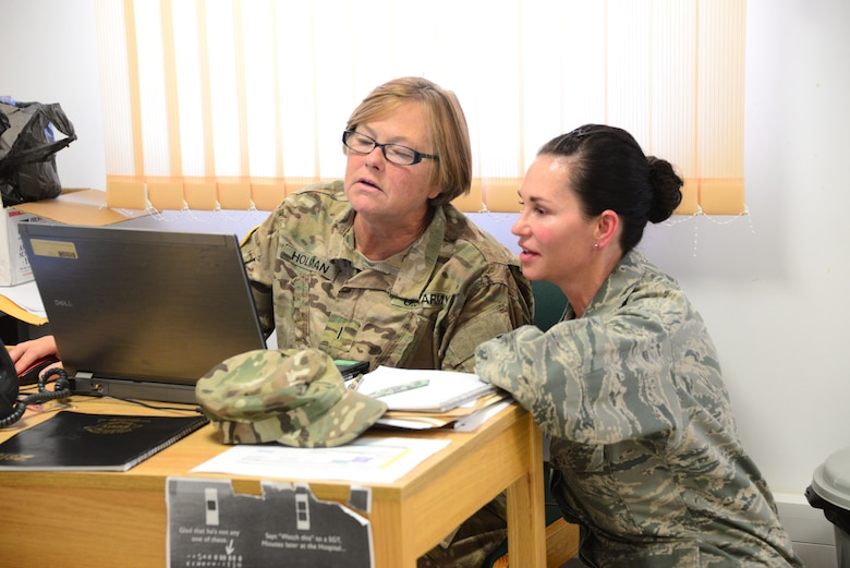 Chief Warrant Officer (CW5) Sherry Holman, S-1, 194th EN BDE, Tennessee Army National Guard and Capt. Stephanie McKeen, 134th Public Affairs Officer, Tennessee Air National Guard, discuss the days tasks at Novo Selo Training Area, Bulgaria Aug. 10, 2016.  Tennessee National Guard Soldiers and Airmen were on rotations to complete thier portions of projects as part of Operation Resolute Castle 16, an ongoing operation of military construction to build up Eastern European base infrastructure and help strengthen ties between Tennessee's state partnership with Bulgaria. (U.S. Air National Guard photo by Master Sgt. Kendra M. Owenby, 134 ARW Public Affairs)