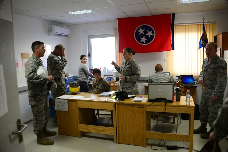 Airmen from the 118th Mission Support Group, Tennessee Air National Guard, maintain accountability for deployed troops from a temporary orderly room Aug. 10, 2016, at Novo Selo Training Area, Bulgaria.  Tennessee National Guard Soldiers and Airmen were on rotations to complete thier portions of projects as part of Operation Resolute Castle 16, an ongoing operation of military construction to build up Eastern European base infrastructure and help strengthen ties between Tennessee's state partnership with Bulgaria. (U.S. Air National Guard photo by Master Sgt. Kendra M. Owenby, 134 ARW Public Affairs)