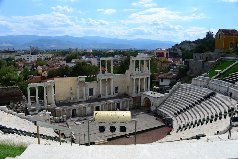 The Roman Amphitheatre located in the city center in Plovdiv, Bulgaria, is one of the most well preserved theatres from the time and is still in use today.  Tennessee National Guard Soldiers and Airmen enjoyed a Morale Wellness and Recreation visit to Plovdiv on Aug.13, 2016 while they were deployed to Novo Selo Training Area, Bulgaria to participate in Humanitarian Civic Assistance projects.    (U.S. Air National Guard photo by Master Sgt. Kendra M. Owenby, 134 ARW Public Affairs)