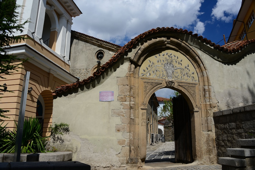 The doorway leading to the St. The Virgin Mary Cathedral (Est. 1844) in Nessebar, Bulgaria.  Airmen and Soldiers from the Tennessee National Guard enjoyed touring the resort town on the Black Sea as part of a  Morale Wellness and Recreation event Aug. 12., 2016 while deployed to Novo Selo Training Area, Bulgaria.  Tennessee National Guard Soldiers and Airmen were on rotations as part of Operation Resolute Castle 16, an ongoing operation of military construction to build up Eastern European base infrastructure and help strengthen ties between Tennessee's state partnership with Bulgaria.  (U.S. Air National Guard photo by Master Sgt. Kendra M. Owenby, 134 ARW Public Affairs)