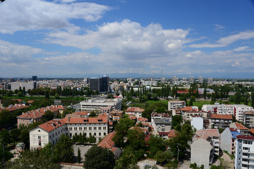 A view of Plovdiv, Bulgaria from atop a nearby hill.  Tennessee National Guard Soldiers and Airmen enjoyed a Morale Wellness and Recreation visit to Plovdiv on Aug.13, 2016 while they were deployed to Novo Selo Training Area, Bulgaria to participate in Humanitarian Civic Assistance projects.    (U.S. Air National Guard photo by Master Sgt. Kendra M. Owenby, 134 ARW Public Affairs)