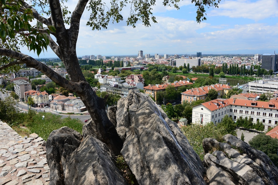 The view of the city of Plovdiv, Bulgaria from atop a nearby hill.  Tennessee National Guard Soldiers and Airmen enjoyed a Morale Wellness and Recreation visit to Plovdiv on Aug.13, 2016 while they were deployed to Novo Selo Training Area, Bulgaria to participate in Humanitarian Civic Assistance projects.    (U.S. Air National Guard photo by Master Sgt. Kendra M. Owenby, 134 ARW Public Affairs)