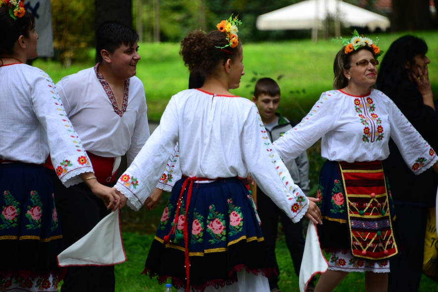 Locals dressed in traditional attire dance in a city park in Plovdiv, Bulgaria.  Tennessee National Guard Soldiers and Airmen enjoyed a Morale Wellness and Recreation visit to Plovdiv on Aug.13, 2016 while they were deployed to Novo Selo Training Area, Bulgaria to participate in Humanitarian Civic Assistance projects.    (U.S. Air National Guard photo by Master Sgt. Kendra M. Owenby, 134 ARW Public Affairs)