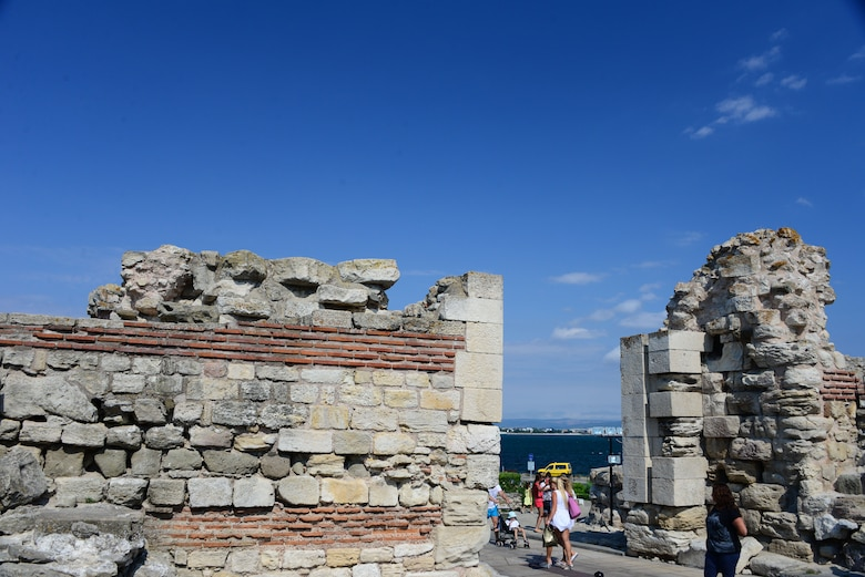 Visitors tour the old city ruins of Nessebar, Bulgaria, an ancient settlement along the Black Sea.  Airmen and Soldiers toured the area as part of a  Morale Wellness and Recreation event Aug. 12., 2016 while deployed to Novo Selo Training Area, Bulgaria.  Tennessee National Guard Soldiers and Airmen were on rotations as part of Operation Resolute Castle 16, an ongoing operation of military construction to build up Eastern European base infrastructure and help strengthen ties between Tennessee's state partnership with Bulgaria.  (U.S. Air National Guard photo by Master Sgt. Kendra M. Owenby, 134 ARW Public Affairs)