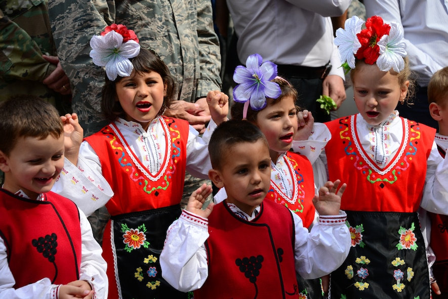 Students sing traditional songs at the grand re-opening of the Izvorche Kindergarten school in Kabile, Bulgaria, Aug. 24, 2016.  Tennessee National Guard Soldiers and Airmen from the 164th Civil Engineer Squadron, 118th Mission Support Group, 134th Air Refueling Wing, and the 194th Engineer Brigade deployed to nearby Novo Selo Training Area for thier annual training to participate in Humanitarian Civic Assistance projects such as the renovation of the school.  The projects build skills for the Airmen while helping to strengthen ties with Tennessee and Bulgaria through the State Partnership Program.  (U.S. Air National Guard photo by Master Sgt. Kendra M. Owenby, 134 ARW Public Affairs)
