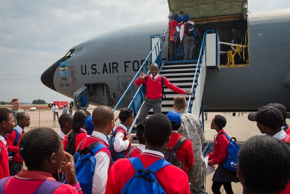 South African students tour a U.S. KC-135 Stratotanker at the African Aerospace and Defense Expo at Waterkloof Air Force Base, South Africa, Sept. 14, 2016. The U.S. military is exhibiting a C-17 Globemaster III, a KC-135 Stratotanker, a C-130J Super Hercules, an HC-130 King, and an MQ-9 Reaper. The aircraft come from various Air National Guard and Air Force Reserve Command units. The U.S. routinely participates in events like AADE to strengthen partnerships with regional partners. (U.S. Air Force photo by Tech. Sgt. Ryan Crane)