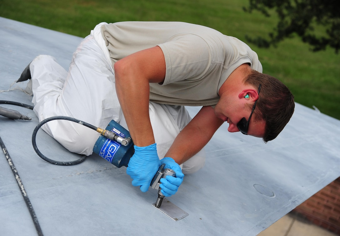 Tech Sgt. Nicholas Fonzo, a low observable technician from the 509th Maintenance Squadron, repairs corrosion damage on an FB-111A General Dynamics Aardvark static display at Whiteman Air Force Base, Mo., Sept. 13, 2016. The static displays on base require maintenance due to weather and wildlife as needed.(U.S. Air Force photo by Senior Airman Joel Pfiester)