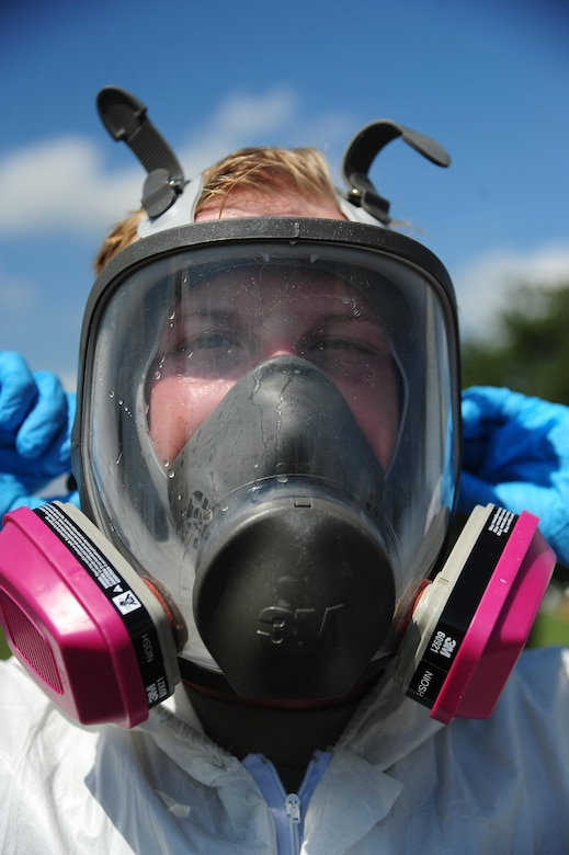 A low observable technician from the 509th Maintenance Squadron tightens the straps on his respirator mask prior to painting an FB-111A General Dynamics Aardvark static display at Whiteman Air Force Base, Mo., Sept. 13, 2016. In addition to aircraft painting and other normal duties, low observable technicians perform cosmetic maintenance on static displays at Whiteman. (U.S. Air Force photo by Senior Airman Joel Pfiester)
