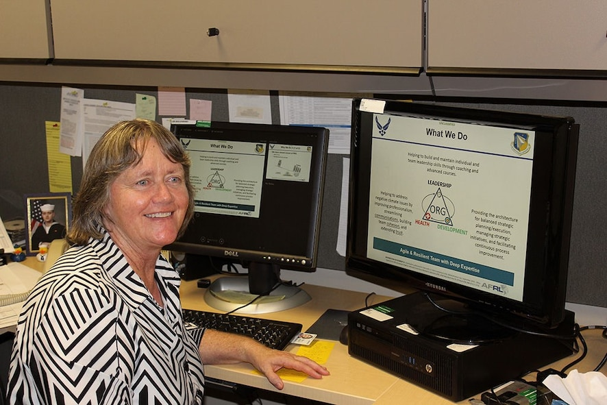 Sue Atwood, Air Force Research Laboratory senior development planner for Space Vehicles and Directed Energy directorates, is heading up a program to help teach scientists and engineers how to better communicate and smooth out administrative procedures. (Photo by Bud Cordova)