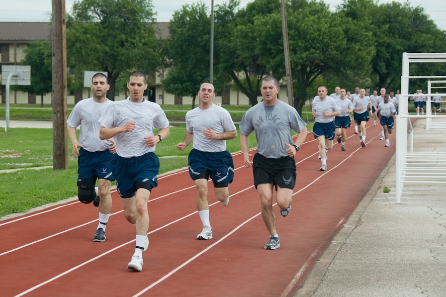 7th WOT Motivation by the MTI assists these seventh week flights to exceed their run times for the final physical training assessment.
