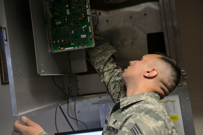 U.S. Air Force Senior Airman Michael Bielawski, a 354th Communications Squadron radio frequency transmissions journeyman, works on the Giant Voice system Sept. 13, 2016, at Eielson Air Force Base, Alaska. Radio frequency transmissions use this system for emergency communication as well as Reveille, Retreat, Taps and the National Anthem. (U.S. Air Force photo by Airman Isaac Johnson)