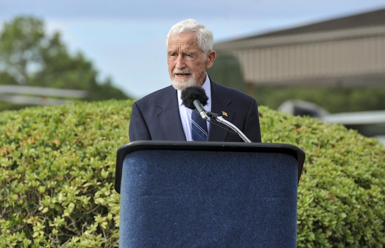 Retired Lt. Gen. Leroy Manor, a former prisoner of war, speaks of the many missions completed while serving in the Vietnam War during a POW-MIA ceremony at the Air Park on Hurlburt Field, Fla. Sept. 16, 2016. Manor was the commander of Air Force Special Operations Force and the Joint Task Force during the 1970's. Their mission, Operation Ivory Coast, was to search and rescue prisoners of war at Son Tay, Vietnam. (U.S. Air Force photo by Airman Dennis Spain)