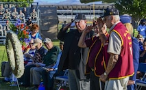 Former Prisoners of War salute the white wreath at the Prisoner of War/Missing in Action Ceremony at Freedom Park on Nellis Air Force Base, Nev., Sept. 16, 2016. Each year on the third Friday of September, the country honors our military members who have been or still are Prisoners of War or Missing in Action. There are currently more than 82,000 members of the military who are still missing from conflicts dating back to World War I. (U.S. Air Force photo by Airman 1st Class Nathan Byrnes)