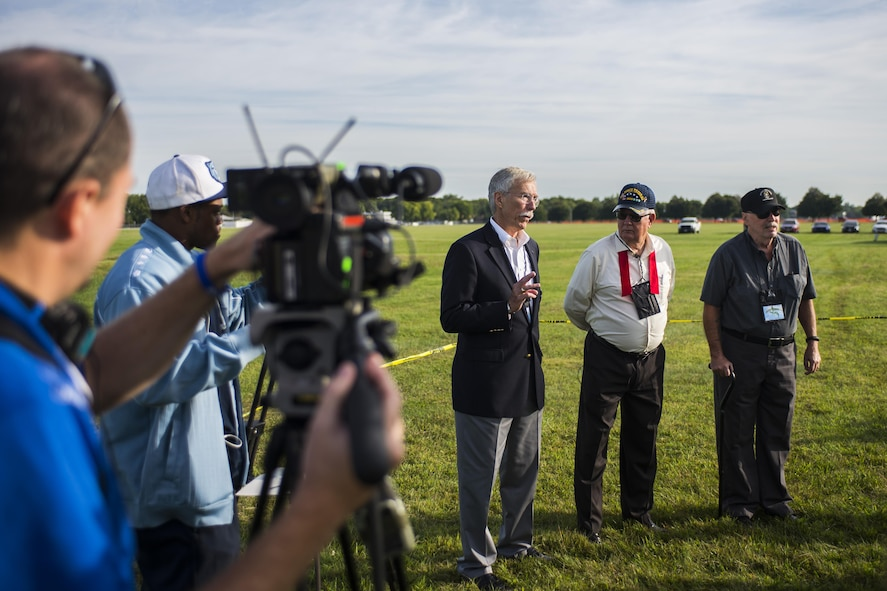 Veterans of the 20th Special Operations Squadron speak with media before the start of the Green Hornet Dedication ceremony at the National Museum of the United States Air Force near Wright-Patterson Air Force Base, Ohio, Sept. 15, 2016. The museum formally dedicated an exhibit and diorama depicting their rescue mission in Vietnam on Nov. 26, 1968. (U.S. Air Force photo by Senior Airman Luke Kitterman/Released)