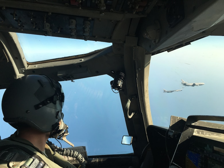 Delta, a 9th Bomb Squadron pilot, watches his team lead air refuel over the Pacific Ocean, March 2016. Dyess has been assisting the Joint Interagency Task Force South in their fight against drug trafficking from Latin America. In total, the 9th BS has dedicated more than 350 flight hours to this operation. (Courtesy photo)
