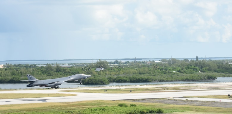 A B-1B Lancer from Dyess takes off from Boca Chica Field at Naval Air Station Key West, Fla., August 23, 2016. The Bomber was supporting the Joint Interagency Task Force South's mission of detection and monitoring of illicit trafficking from Latin America. During this particular mission, 3,021 kilos of drugs were confiscated, totaling $95.2 million in just five days. (U.S. Navy Photo by Mass Communication Specialist 2nd Class Cody R. Babin)