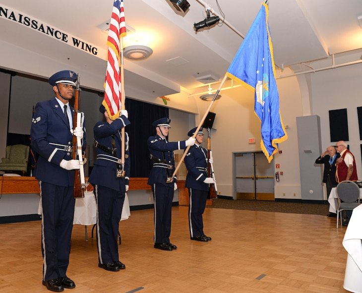 The Beale Air Force Base Honor Guard presents the colors during the singing of the national anthem at the POW/MIA ceremonial breakfast Sept. 15, 2016, at Beale Air Force Base, California. National POW/MIA Recognition Day is observed on the third Friday of September as a way to honor America's prisoners of war and missing in action. (U.S. Air Force photo/Airman Tristan D. Viglianco)