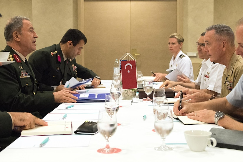 "Marine Corps Gen. Joe Dunford, the chairman of the Joint Chiefs of Staff, meets with Turkey's chief of the General Staff, Gen. Hulusi Akar, in Split, Croatia, Sept. 16, 2016. The military leaders, who met ahead of a NATO Military Committee conference, discussed the way forward in the fight against the Islamic State of Iraq and the Levant. Dunford also ""recommitted to the close military-to-military and strategic relationship the U.S. has with Turkey,"" his spokesman said. DoD photo by D. Myles Cullen"