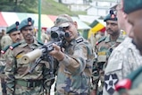 An Indian soldier looks down the sight of a sniper rifle during a weapons demonstration held Sept. 15, 2016, at Chaubattia, India. The weapons demonstration was part of Yudh Abhyas, a bilateral training exercise geared toward enhancing cooperation and coordination between the two nations through training and cultural exchanges.