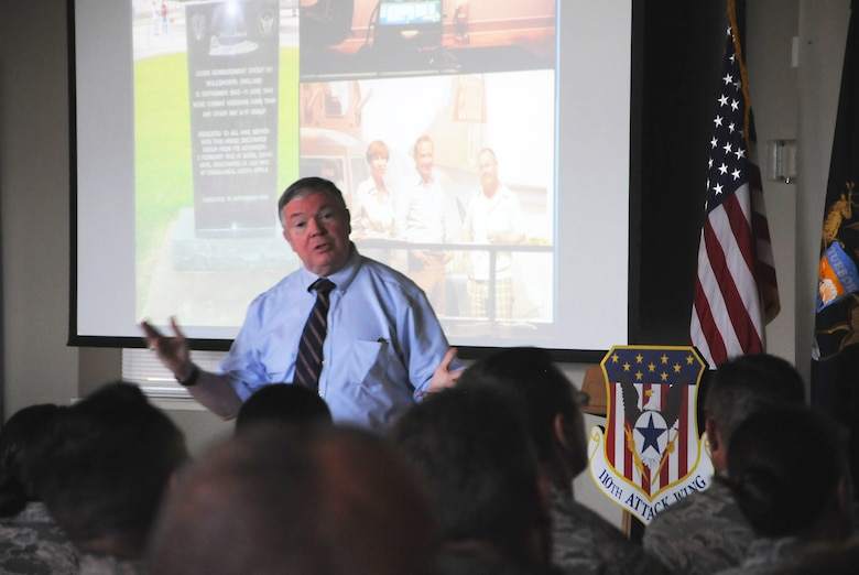Service members from the 110th Attack Wing Battle Creek Air National Guard Base, Mich., gather for a distinguished presentation featuring Mr. James G. Clark, Director, Intelligence, Surveillance and Reconnaissance Innovation, Deputy Chief of Staff for ISR, Headquarters U.S. Air Force, Washington, D.C., Wednesday, August 17, 2016, Battle Creek, Mich. Mr. Clark reflected briefly on his service as a pilot in the U.S. Air Force, from which he retired in 2001 with the rank of Col., as well as his road to becoming a key innovator in RPA operations.(U.S. Air National Guard Photo by Master Sgt. Sonia Pawloski/released)