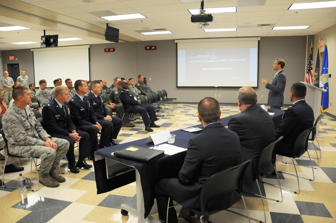 Lt. Gov. Brian Calley visits the 110th Attack Wing, Battle Creek Air National Guard Base and Fort Custer Training Center, Battle Creek, Mich., Monday, August 16, 2016. Lt. Gov. Calley met with 110th Attack Wing Commander, Col. Bryan Teff before traveling to Fort Custer Training Center to meet with Installation Commander, Lt. Col. Steve Wilson and Assistant Adjutant General of Installations, Brig. Gen. Michael Stone.  The purpose of Cally's visit was to highlight the state's strategic plan to protect and grow Michigan's defense and homeland security economy. After returning to the 110th, Calley toured the facilities stopping at the 217th Air Operations Group for a Cyber Operations Squadron mission brief and press conference with Wing Commander, Col. Bryan Teff, Battle Creek Area Chamber of Commerce Representative, Military Affairs, Mr. T.R. Shaw,  and Battle Creek Unlimited Interim President and CEO, Mr. Joe Sobieralski. (Air National Guard photo by Master Sgt. Sonia Pawloski/released)