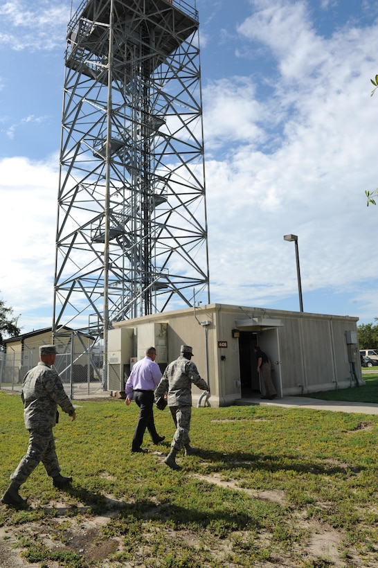 Chief Master Sgt. Vegas Clark, 81st Training Wing command chief, walks to the 334th Training Squadron digital air surveillance radar tower during an immersion tour Sept. 12, 2016, on Keesler Air Force Base, Miss.  The purpose of the tour was to become familiar with the 81st Training Group's mission, operations and personnel. (U.S. Air Force photo by Kemberly Groue/Released)