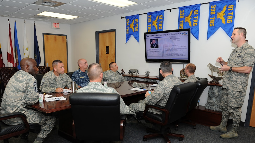 Lt. Col. Michael Manning, 81st Training Support Squadron commander, delivers a squadron overview to Chief Master Sgt. Vegas Clark, 81st Training Wing command chief, during an immersion tour at the Levitow Training Support Facility Sept. 12, 2016, on Keesler Air Force Base, Miss.  The purpose of the tour was to become familiar with the 81st Training Group's mission, operations and personnel. (U.S. Air Force photo by Kemberly Groue/Released)