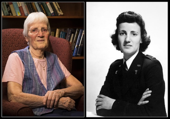 Anne Rissman served as a nurse at the 2nd Evacuation Hospital during World War II. The photo on the left is of Anne taken Aug. 15, 2016 in Boise, Idaho. The photo on the right is when she was serving in the U.S. Army in the early 1940s. (Left, U.S. Air Force photo by Senior Airman Jeremy L. Mosier/Released)