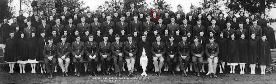 Officers and nurses of the 2nd Evacuation Hospital pose for a photo during World War II. Anne Rissman, circled, was one of the youngest working as a nurses at the hospital. (Courtesy Photo)
