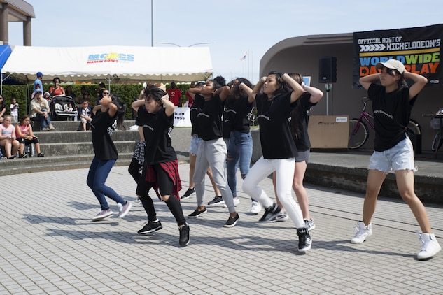 Hass Entertainment, a local Japanese dance group, performs for guests attending the Boys and Girls Club Day for Kids Celebration 2016 at Marine Corps Air Station Iwakuni, Japan, Sept. 27, 2016. The local dance group performs dances in hip-hop, jazz and many more styles. (U.S. Marine Corps photo by Lance Cpl. Joseph Abrego)