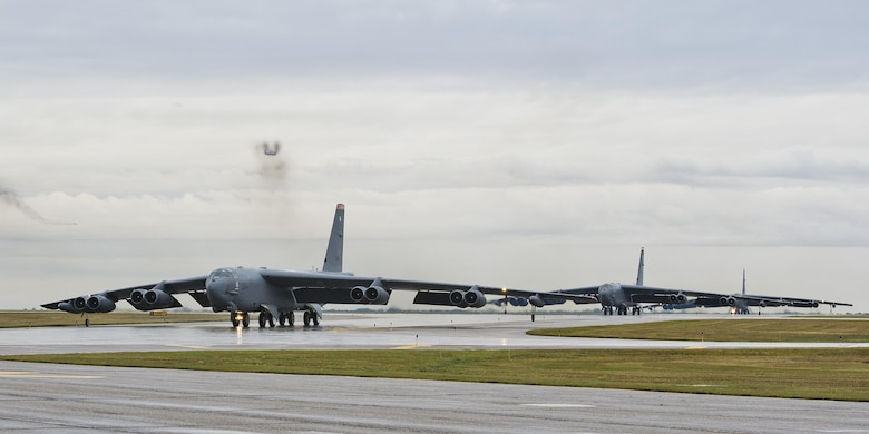 Three B-52H Stratofortresses taxi down the runway during Prairie Vigilance 16-1 at Minot Air Force Base, N.D., Sept. 16, 2016. As one leg of U.S. Strategic Command's nuclear triad, Air Force Global Strike Command's B-52s at Minot, play an integral role in nation's strategic deterrence. (U.S. Air Force photo/Airman 1st Class J.T. Armstrong)