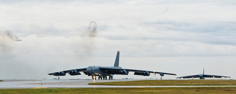 Two B-52H Stratofortresses taxi down the runway during Prairie Vigilance 16-1 at Minot Air Force Base, N.D., Sept. 16, 2016. The 5th Bomb Wing at Minot Air Force Base, N.D., participated in Prairie Vigilance Sept. 11-16, an annual exercise designed to test the wing's ability to conduct conventional and nuclear-capable bomber operations. (U.S. Air Force photo/Airman 1st Class J.T. Armstrong)