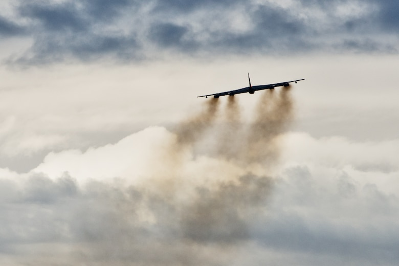A B-52H Stratofortress soars through the air during Prairie Vigilance 16-1 at Minot Air Force Base, N.D., Sept. 16, 2016. The exercise concluded with the rapid fly-off, successfully launching a sequence of 12 B-52s to showcase their active capability to execute the mission. (U.S. Air Force photo/Airman 1st Class J.T. Armstrong)