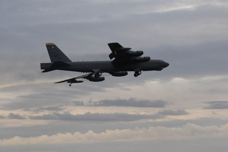 A B-52H Stratofortress flies during Prairie Vigilance 16-1 at Minot Air Force Base, N.D., Sept. 16, 2016. Approximately 3,500 Airmen from across the 5th Bomb Wing demonstrated safe, secure, reliable nuclear-capable weapons standards and procedures during the weapons generations and fly off. (U.S. Air Force photo/Airman 1st Class Jessica Weissman)