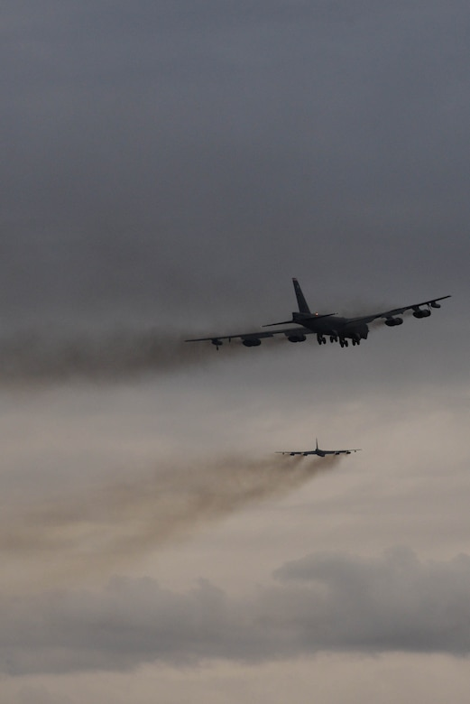 Two B-52H Stratofortresses fly during Prairie Vigilance 16-1 at Minot Air Force Base, N.D., Sept. 16, 2016. As one leg of U.S. Strategic Command's nuclear triad, Air Force Global Strike Command's B-52s at Minot, play an integral role in nation's strategic deterrence. (U.S. Air Force photo/Airman 1st Class Jessica Weissman)