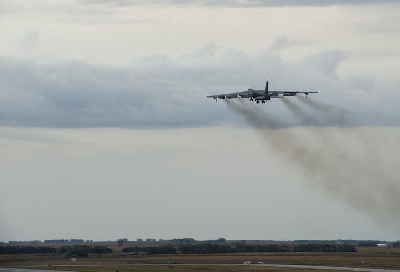 A B-52H Stratofortress takes off during a rapid launch for exercise Prairie Vigilance 16-1 at Minot Air Force Base, N.D., Sept. 16, 2016. Approximately 3,500 Airmen from across the 5th Bomb Wing demonstrated safe, secure, reliable nuclear-capable weapons standards and procedures during the weapons generations and fly-off. (U.S. Air Force photo/Airman 1st Class Christian Sullivan)