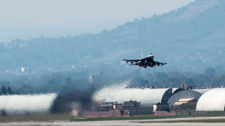 A 555th Fighter Squadron F-16 Fighting Falcon departs for Exercise Immediate Response 16 from Aviano Air Base, Italy on Sept. 14, 2016. The exercise, which uses computer-assisted simulations and field training exercises to improve multinational interoperability, runs until Sept. 23, 2016. (Photos by Airman 1st Class Cory W. Bush/Released)