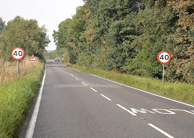 New speed limit signs have been posted on the roadside just outside Eriswell, near RAF Lakenheath, England. The speed limit along the C603 Eriswell Road, between RAF Mildenhall and RAF Lakenheath, has officially been reduced from 60 mph to 40 mph, effective immediately. Team Mildenhall members are reminded to slow down and stay safe. (U.S. Air Force photo by Karen Abeyasekere)